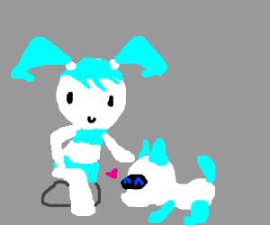 Jenny the teenage robot pets a robo dog