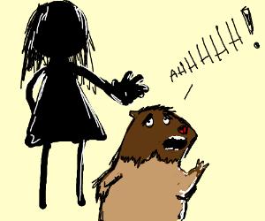 hamster runs from girl