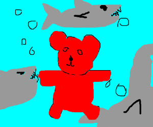 Red jelly bear in shark infested waters.