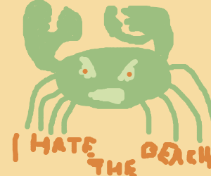 Angry green crab hates the beach