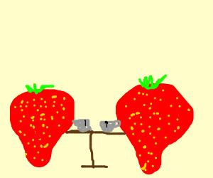 2 strawberries drink tea together