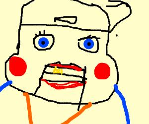 evil puppet face man