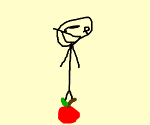 Weird person is Standing on a apple