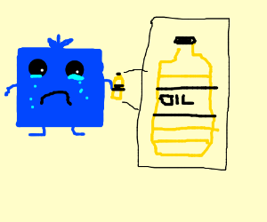 sad blue square thingy crying because of oil