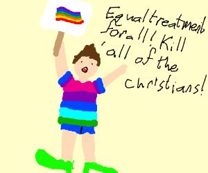 Hypocritical gay man wants to kill Christians