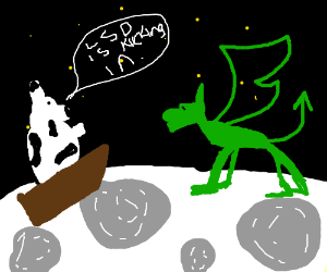 Cow in a boat go to the moon and meet dragons
