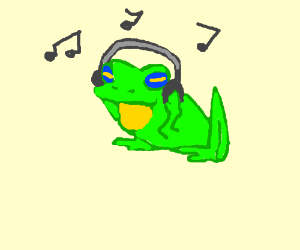 frog listens to music