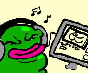 Pepe listens to a song about hentai