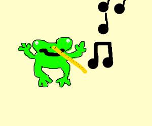 Frog Man Plays Nose Flute