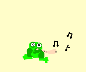 A frog plays the nose flute.