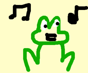 A singing frog