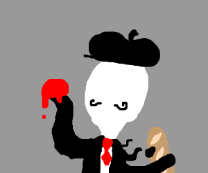 French slender man with red stuff