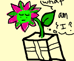 Green flower present  questions its existence