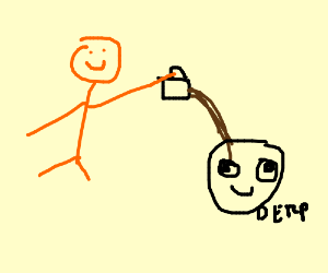 Orange Guy pours Coffe on Derp Man