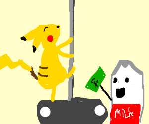 Pickachu pole-dances while milk watches.