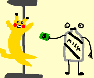 Pikachu pole dances for a milk carton