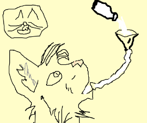 Cat chugging milk