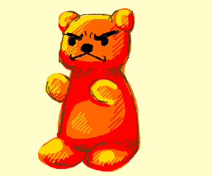 tough gummy bear drawing by belated drawception