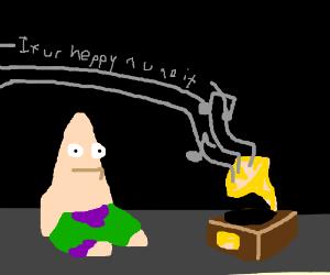 Patrick plays preschool phonograph.