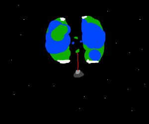 Alien splits earth in two