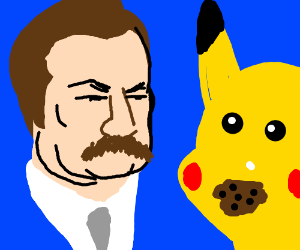 ron swanson eat cookies with confused pikachu