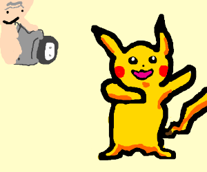 Old man captures pikachu