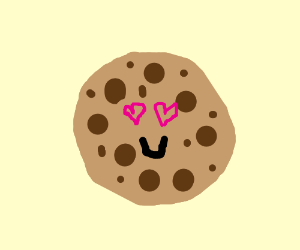Happy cookie with hearts as eyes!