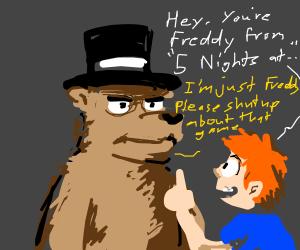 Bear named freddy wearing a top hat not fnaf