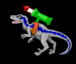Velociraptor with a rocket launcher