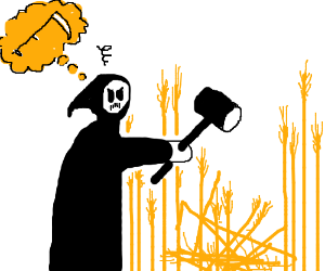 Death needs scythe, hammer just doesn't cut it