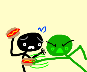 two stick men fight with some hot dogs
