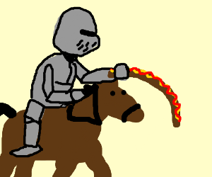 Knight using a giant hot dog as a lance