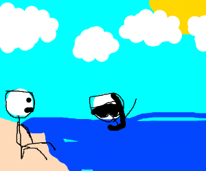 man watches scuba diver from beach