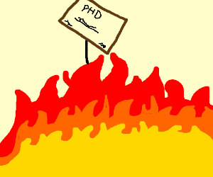 A man with a PHD is standing in a fire.