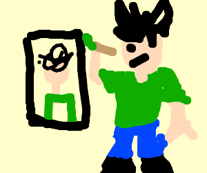 A Framed Portrait Of Stickman In Bad Mood