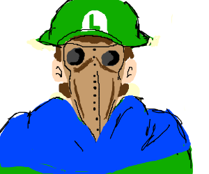 Luigi as plague doctor