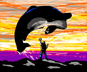 Iconic Free Willy scene but with robot arms