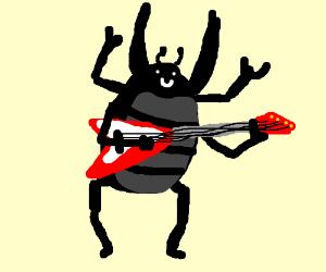 Beetle(Beatle) poses w/ guitar