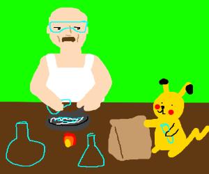 Heisenberg and Pikachu cooking meth