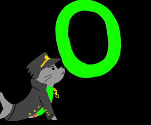 Captain Seal holds up green O