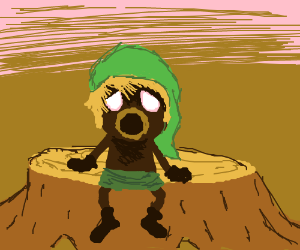 Deku kid at a tree stump