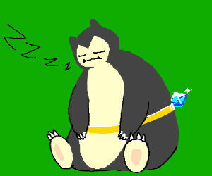Snorlax has a giant gold ring around his belly