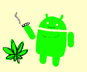 Android logo guy high on weed.