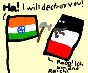 Indian flag destroys a rectangle