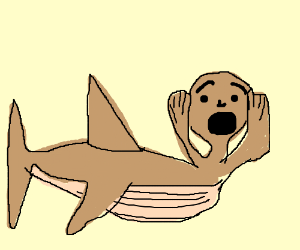 scared man is a pregnant fish