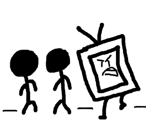 TV is angrily stalking two silhouette guys.