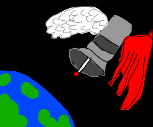 Winged satellite in space