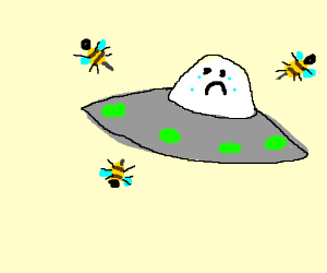 Bee attacks friendly Martian Saucer.