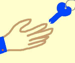 Man's hand grabbing blue weiner shaped key