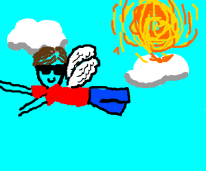 Flying guy with sunglasses